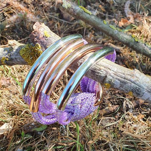 4 Bar / Tube Bracelet Lilac  Silver, Rose Tubes