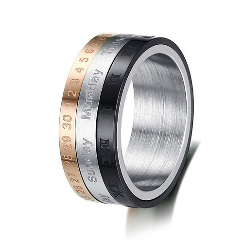 Date Time Rotatable Stainless Steel Ring Men /Unisex Ring