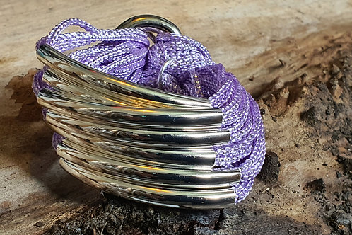8 Bar / Tube Bracelet Lilac with Silver Tubes