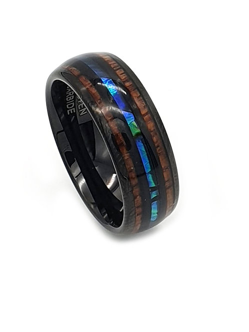 Tungsten Carbide 6mm- 8mm Abalone and Koa Wood Mens/Women's Ring