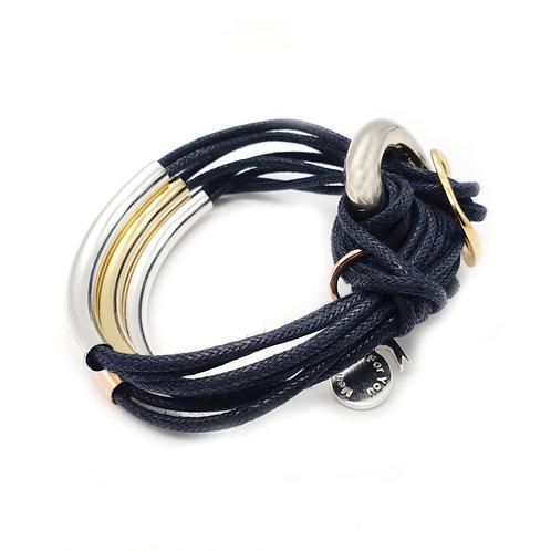 Navy Trio-Colour 4 Bar Bracelet