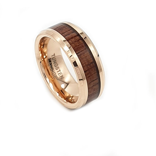 Tungsten Carbide Rose Gold & Wood Inlay Mens Ring