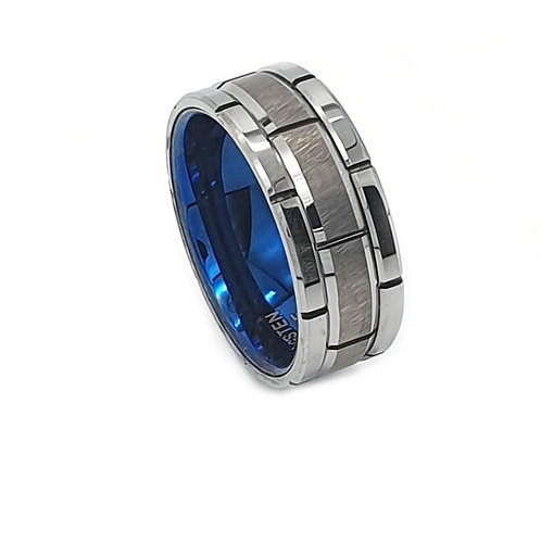 Tungsten Carbide With Blue Inner Ring Mens Ring