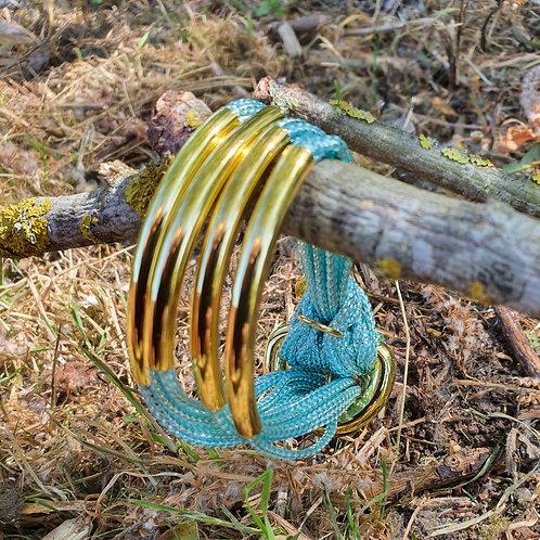 4 Bar / Tube Bracelet Turquoise with Gold Tubes
