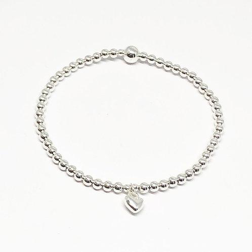 Beaded Bracelet Mini Heart - Silver