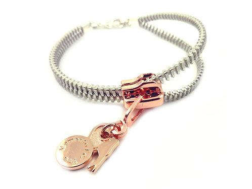 Zip Me Up - Single Rose / Silver Bracelet