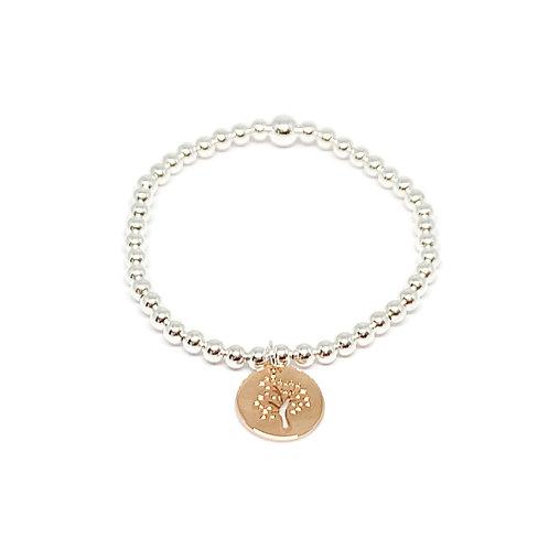 Beaded Bracelet Tree Of Life  -Rose
