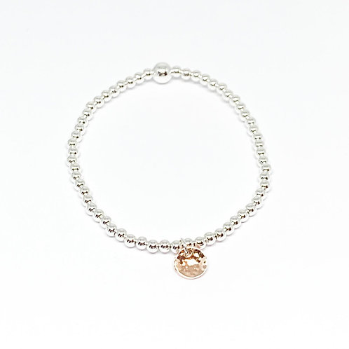 Beaded Bracelet Hammered Disc - Rose Gold