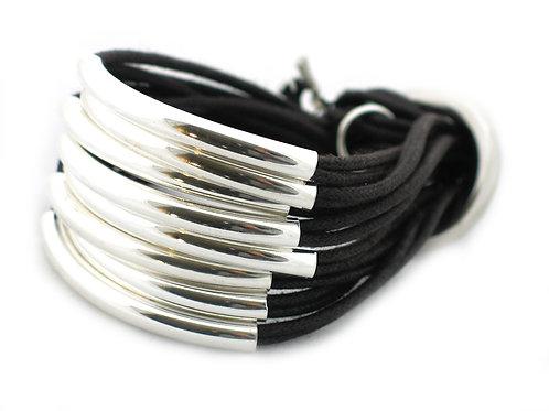 Black Silver 16 Bar Bracelet