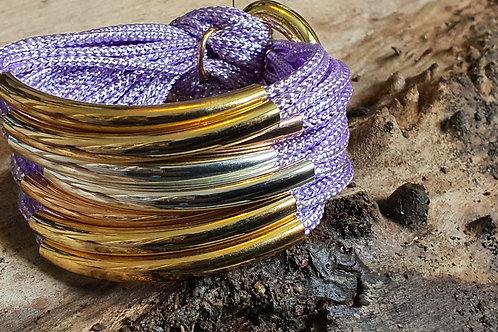 8 Bar / Tube Bracelet Lilac with Silver, Rose & Gold Tubes