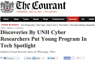 The Courant: Discoveries By UNH Cyber Researchers Put Young Program in Tech Spotlight
