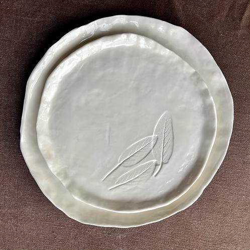 Large porcelain plate with sage leaf decoration