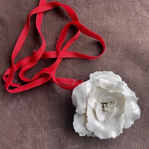 Porcelain rose with hook for decoration
