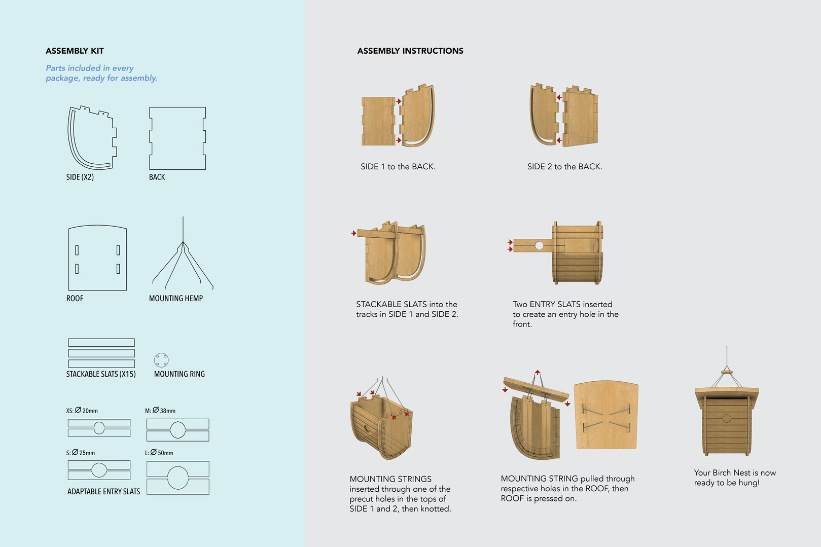 Kit of parts and easy to follow assembly