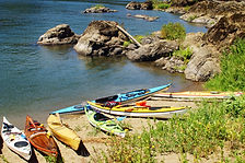 Kayaks on Willamette Narrows Island