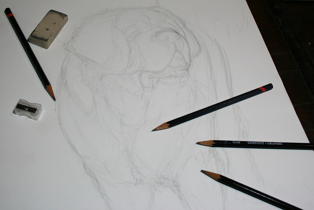 rough pencil sketch of dog