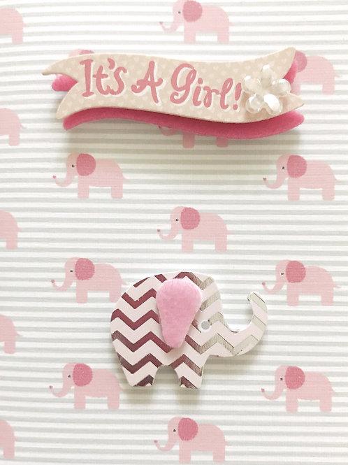 Baby Girl Elephant Gift Card - 117G/21