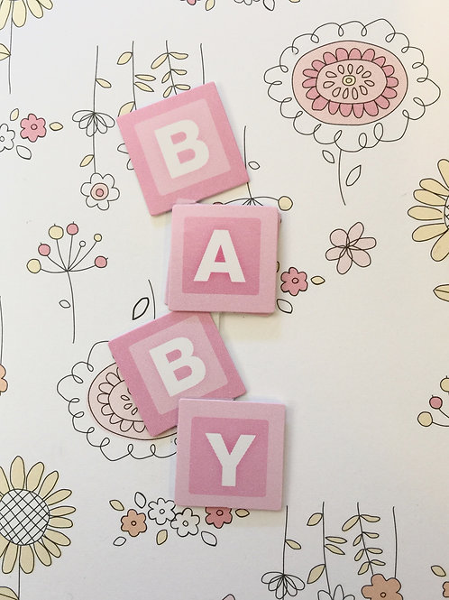 Baby Girl Blocks Gift Card - 117G/6