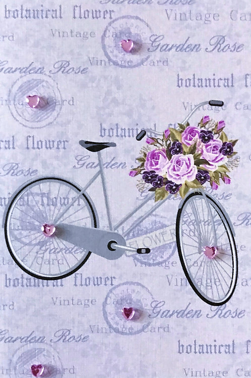 Blank Bike with Flower Basket Greeting Card - 1347