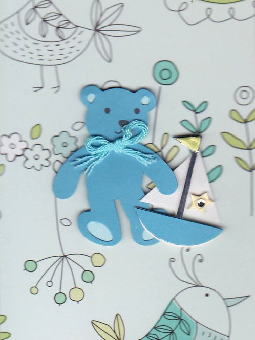 Blue Bear with Boat Gift Card 117B-9