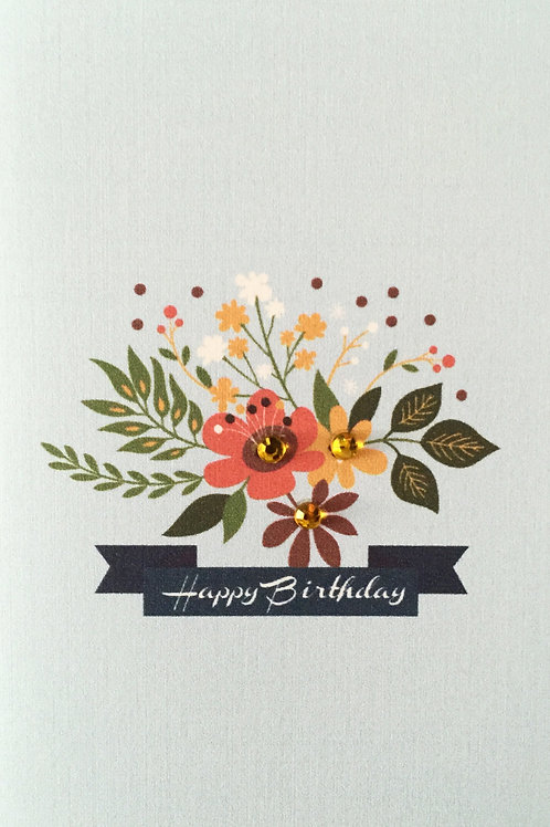 Floral Happy Birthday Note Card Set-NC19