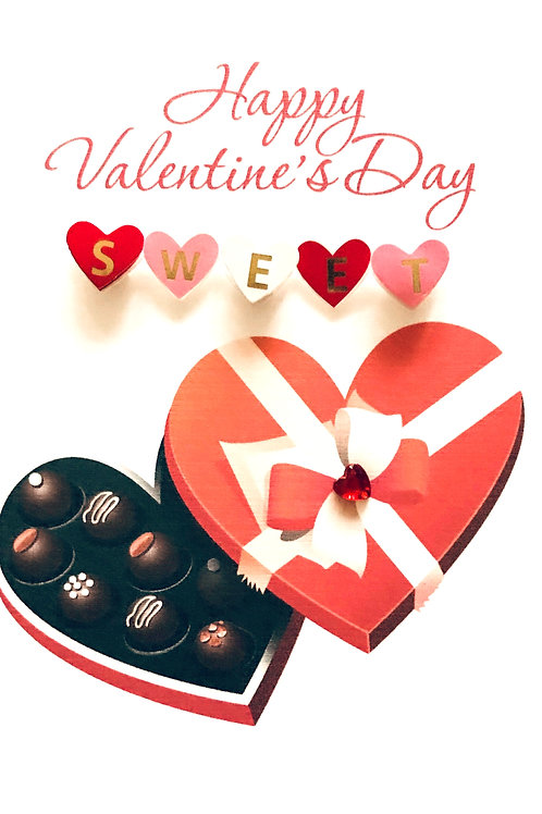 Valentines Heart Candy Box Greeting Card- 1440