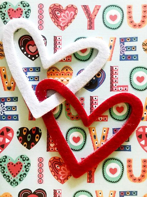 Valentine 2 Hearts Greeting Card - 1450