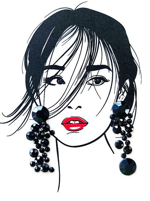 Asian Lady Black Earrings Note Card Set - NC184