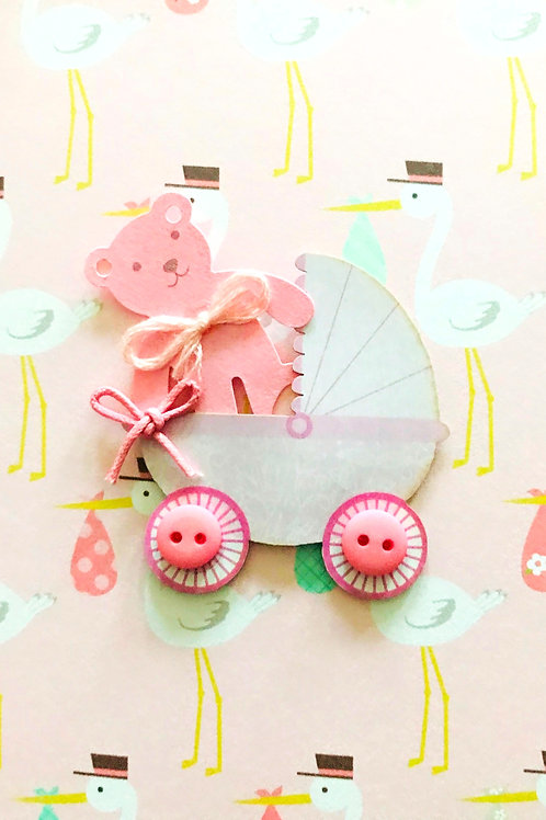 Baby Girl Carriage Note Card Set - NC164
