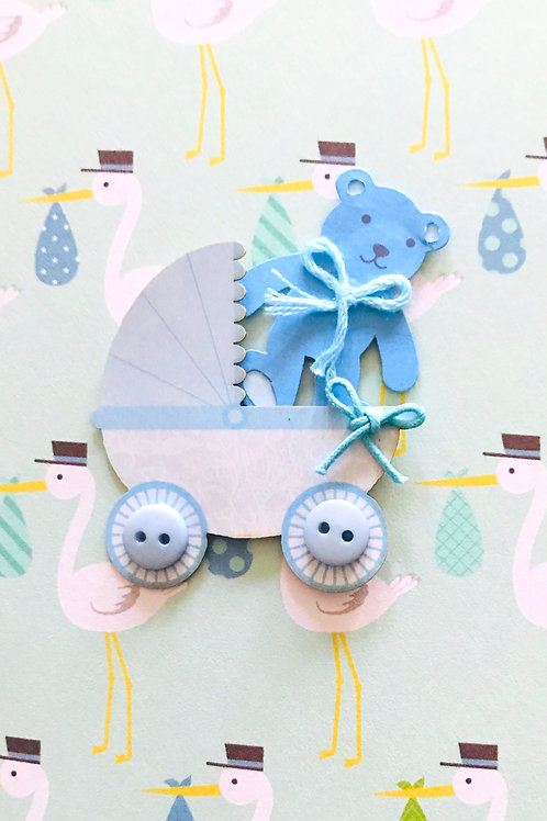 Baby Boy Carriage Note Cards - NC165
