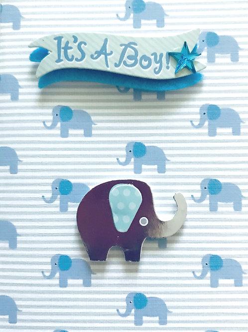 Baby Boy Elephant Gift Card - 117B/21