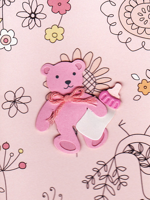 Pink Bear with Bottle Gift Card 117G-9