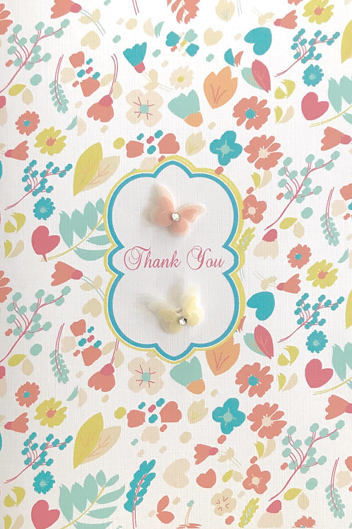 Thank You Floral with Butterflies - 1358