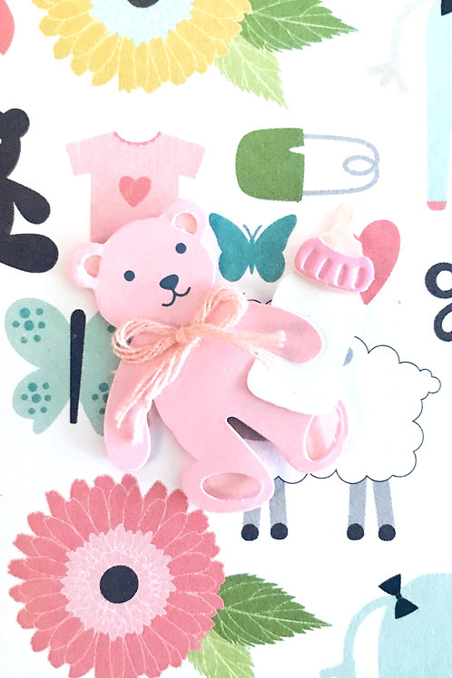 Pink Bear with Bottle Gift Card - 117G/9
