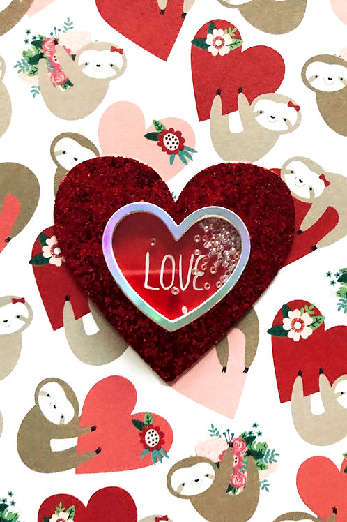 Valentines Glitter Heart Greeting Card - 1445