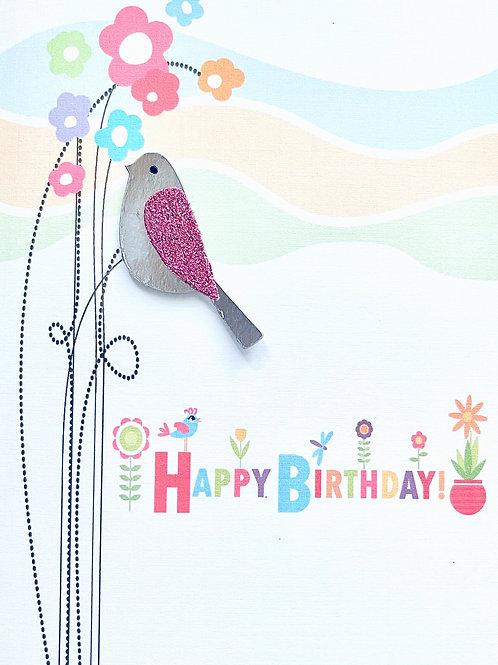 Happy Birthday Glitter Bird Note Card Set - NC190