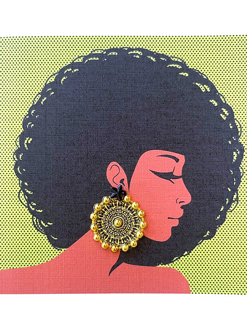 Black Women with Earring Note Card Set - NC186