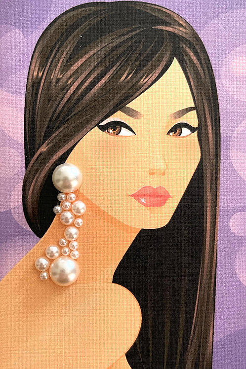 Asian Lady Pearl Earring Note Card Set _ NC183