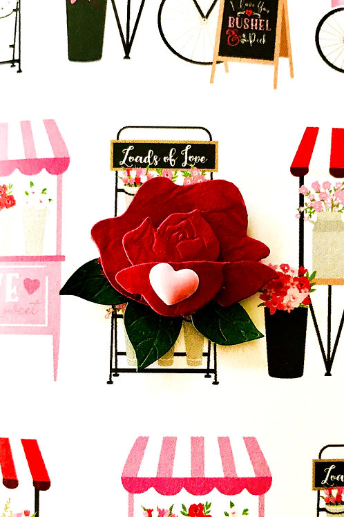 Valentine Rose with Heart Gift Card - V110