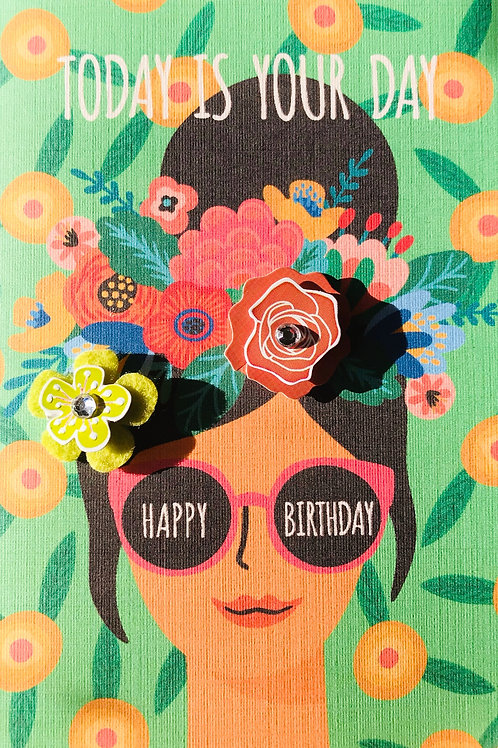 Birthday Tropical Woman Note Cards - NC115