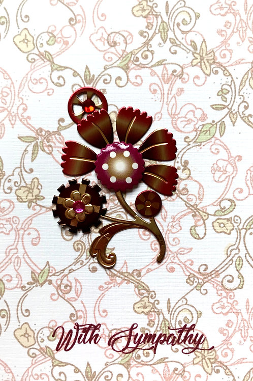 Sympathy Steampunk Flowers Note Cards - NC128
