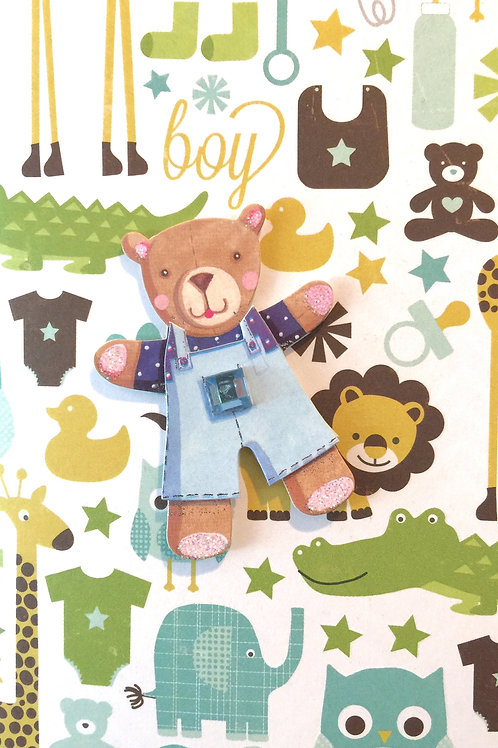 Bear in Overalls Gift Card - 122A/4
