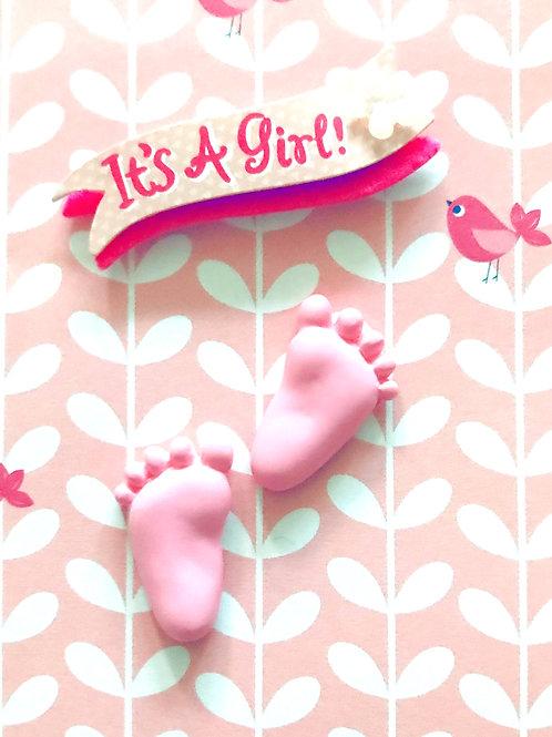 Baby Girl Feet Gift Card - 117G/23
