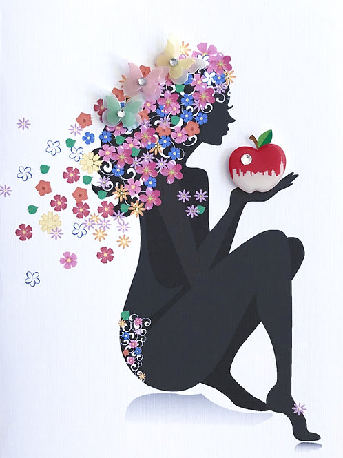 Blank Woman with Apple Greeting Card - 1367