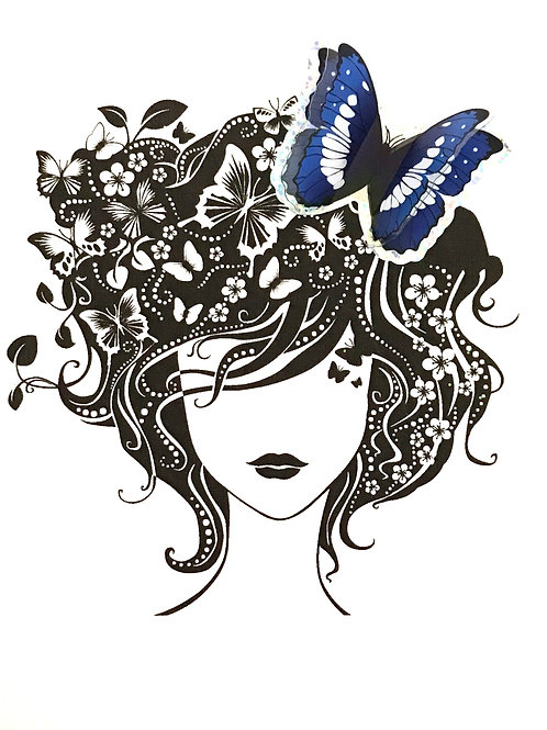 Blank Woman with Butterfly Greeting Card- 1365
