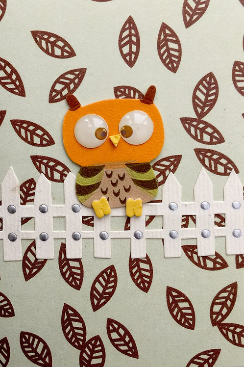 Owl on the Fence Gift Card 143A-7