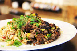 Beefchili, black bean and cilentro chutney