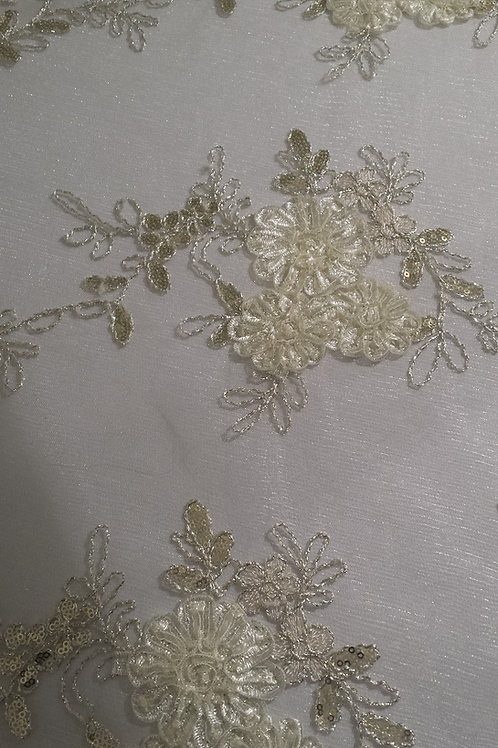 Ivory Lace Gold Sequin Overlay