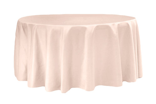 """120"""" - 132"""" Round Satin Tablecloths - Available in Multiple Colors"""