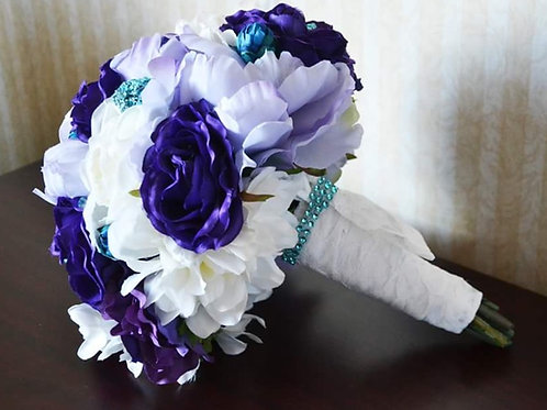 Purple Teal Faux Bouquet